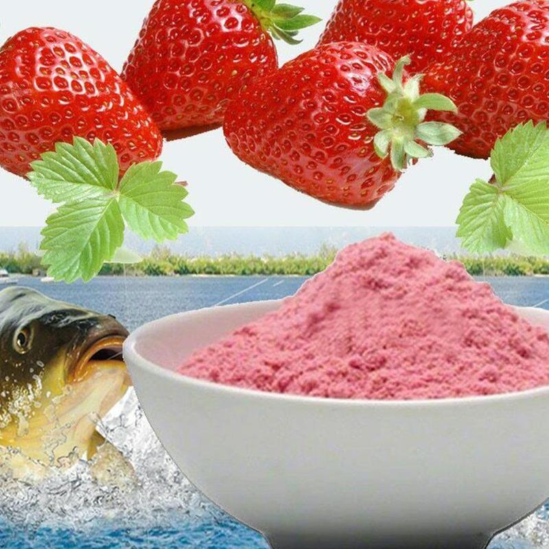 1 saco de morango sabor iscas de pesca aditivo para a pesca da carpa groundbait sabor isca de pesca fazendo perfume carpa alimentador de pesca