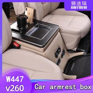FOR Mercedes-Benz V-Class V220 V260 V250 W447 Armrest Storage Box Rear Handrail  Box Mobile Phone Charging USB Hold Hands Water