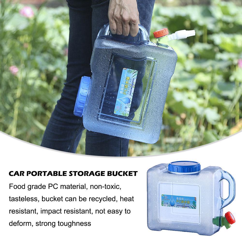 Conteneur deau Portable 5/8L   Voiture, Portable PC Tour auto-conduite dextérieur avec robinet de Camping, baril carré seau de rangement en plastique