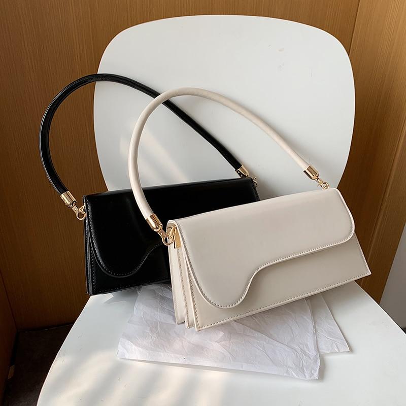 Fashion Women Handbags Designer Flap Shoulder Bags Luxury Pu Leather Messenger Bag Simply Baguettes Shape Purses Female Sac 2020