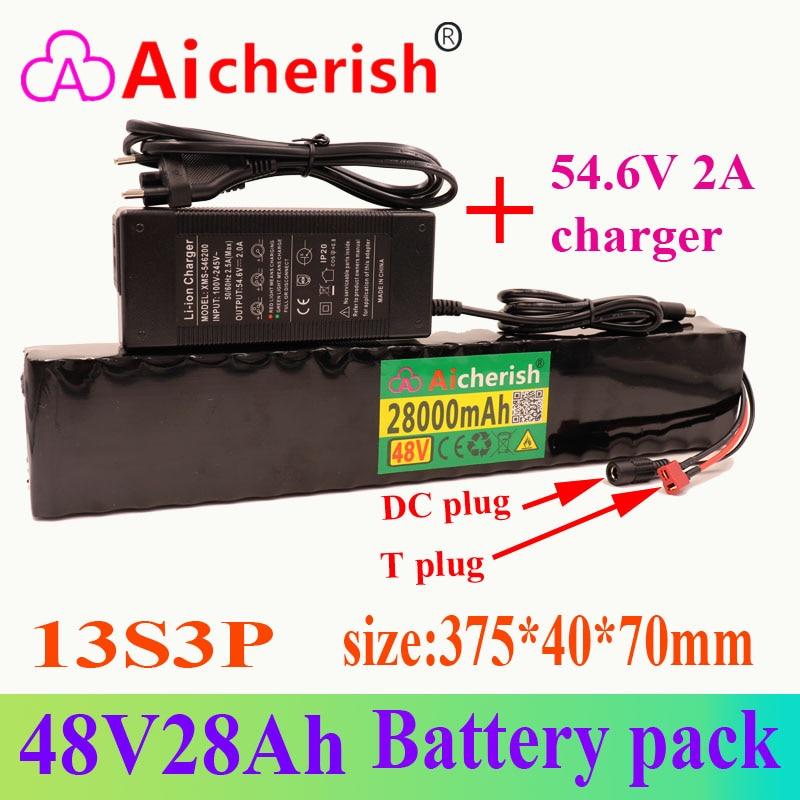 Anti-sobrecarga e Anti-descarga Li-ion 780w Bateria Recarregável Built-in Bms Profunda 18650 13s3p 48v 28a