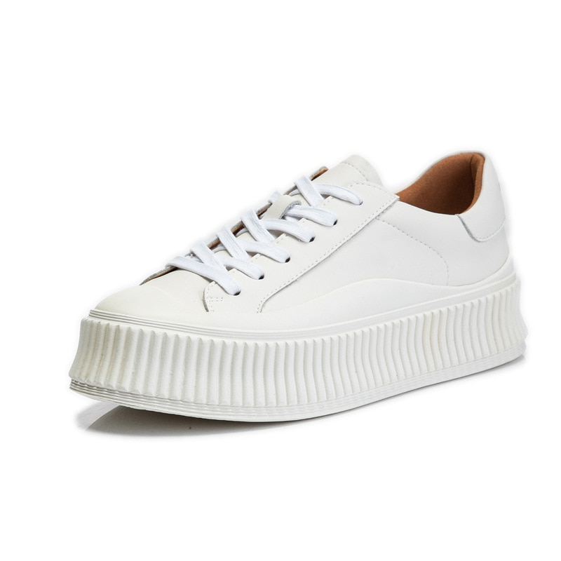 Genuine Leather Vulcanized Shoes For Women Ladies Thick Soles Women's White Shoes Platform Sneakers Breathable Casual Shoes New