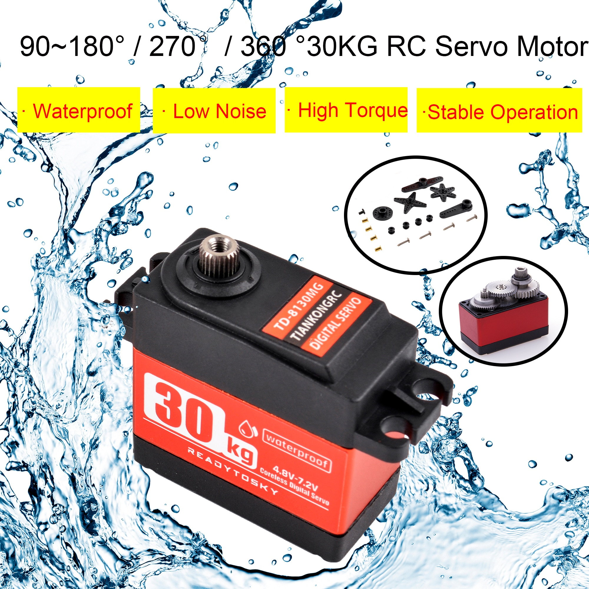 Waterproof 180/270 / 360 Degree 20KG 25KG 30kg 35kg Large Torque Digital Coreless Servo Aluminium Me