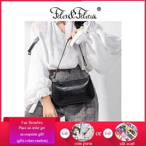 FELIX & FELICIA New Fashion Women Shoulder Bags 2021 Ladies High Quality PU Leather Handbags Black Color Retro Designer Tote Bag