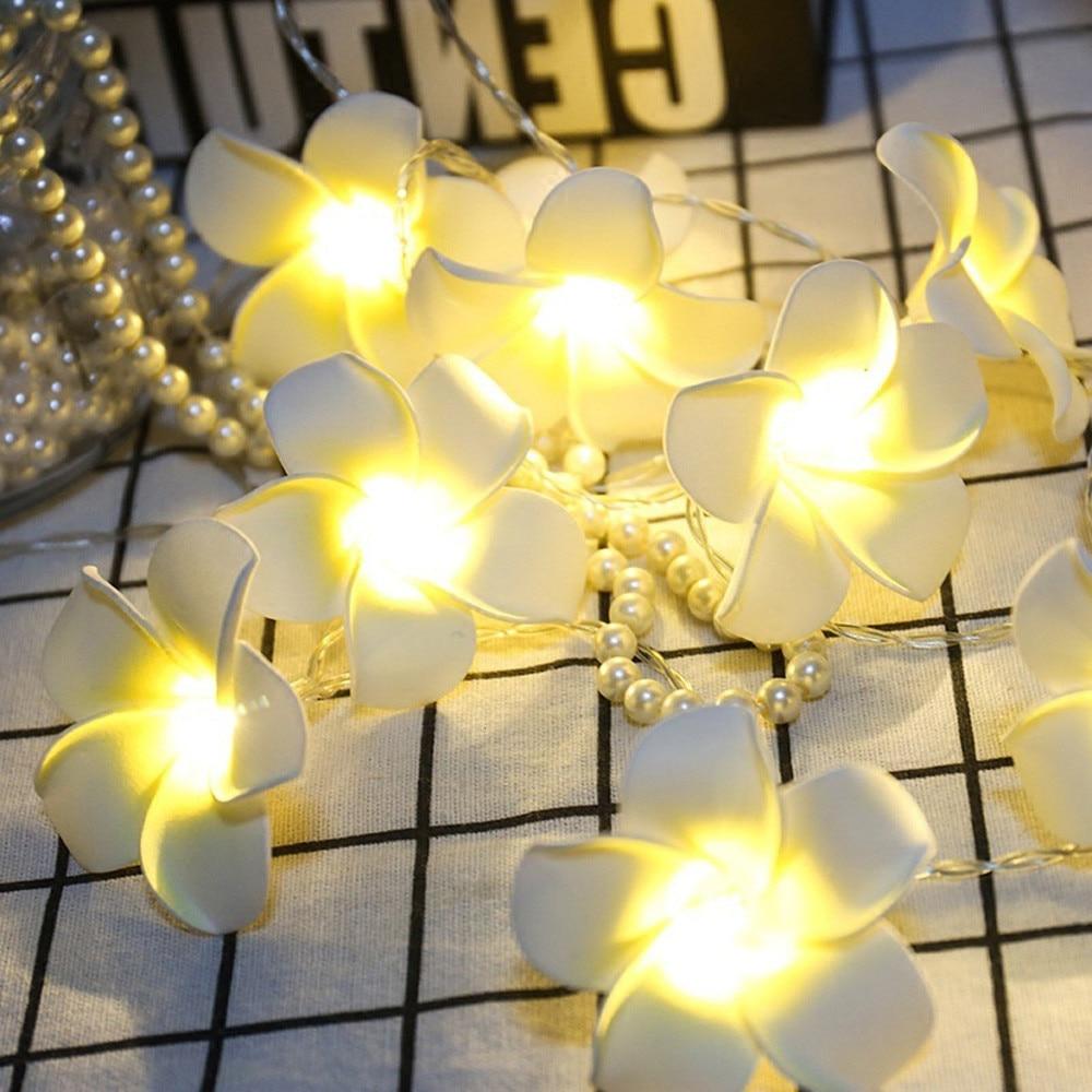 Vintage Frangipani Flower LED Fairy Light String Battery Christmas Tree Toppers Festival Garden Home Party Wedding Decor FDH