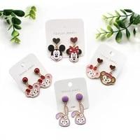 disney silver needle earrings new fun simple cartoon mickey minnie design sense of cold wind temperament womens earrings