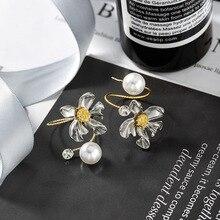 Boucles doreilles asymétriques en métal pour femmes, élégantes en forme de fleur, en forme de perle, de tempérament, bijoux, cadeaux
