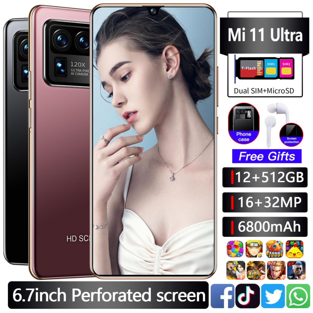 2021 Global Version Mi 11 Ultra 6.7Inch Smartphone 12GB+512GB 16+32MP Unlocked Google Play Face ID GPS Android 5G Mobile Phone