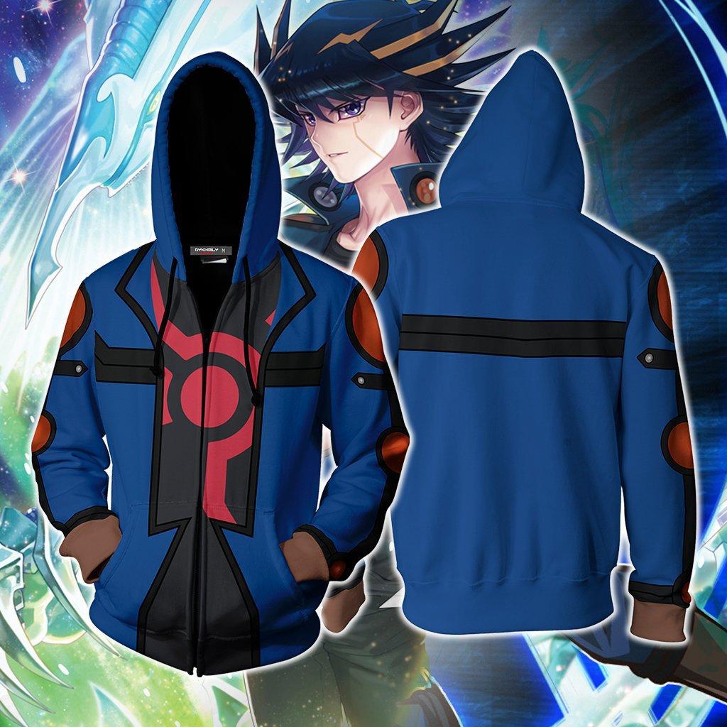 Yu Gi Oh Fudo Yusei Zipper 3D impreso Hoodie Abrigo con capucha chaqueta superior Pullover Streetwear ropa deportiva sudadera Cosplay traje