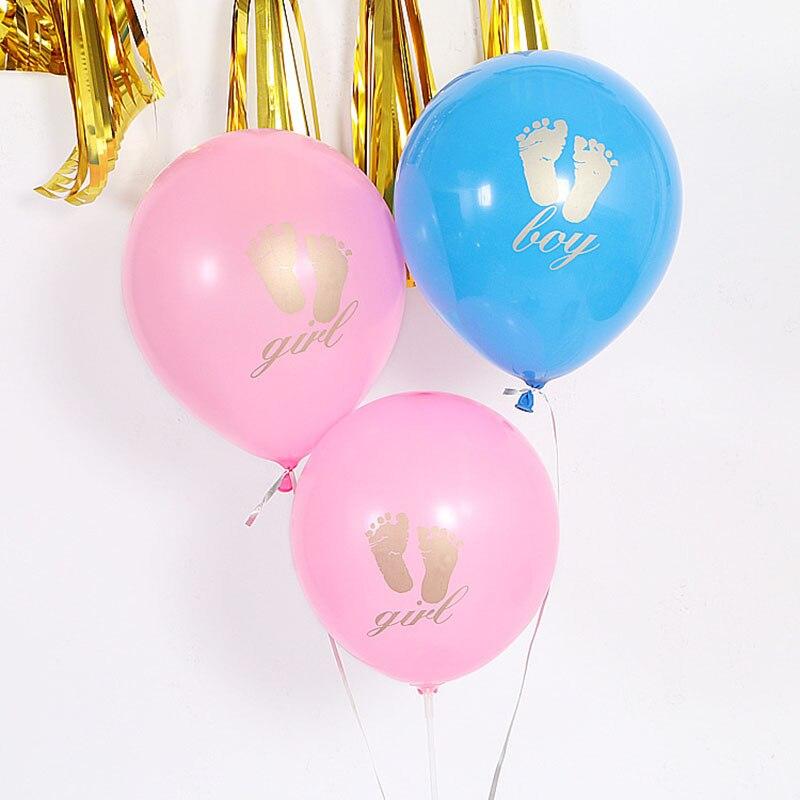 10 pouces pied impression Latex ballons fille garçon bébé douche fête danniversaire décoration enfants sexe révéler lettre hélium ballon fournitures