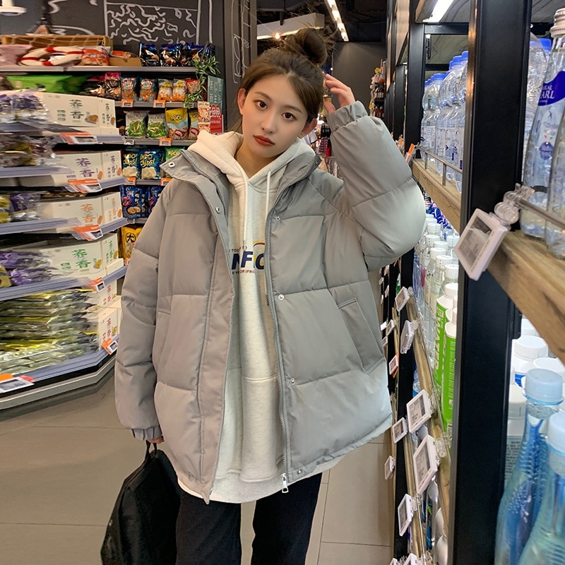 Парка женская оверсайз, хлопковое пальто Za, однотонная верхняя одежда, теплая зимняя женская верхняя одежда, свободная винтажная верхняя од...