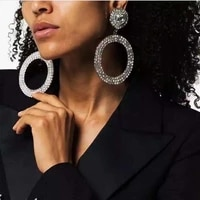fashion womens luxurious large round rhinestone earrings for womens shiny crystal big ring drop earrings jewelry gifts