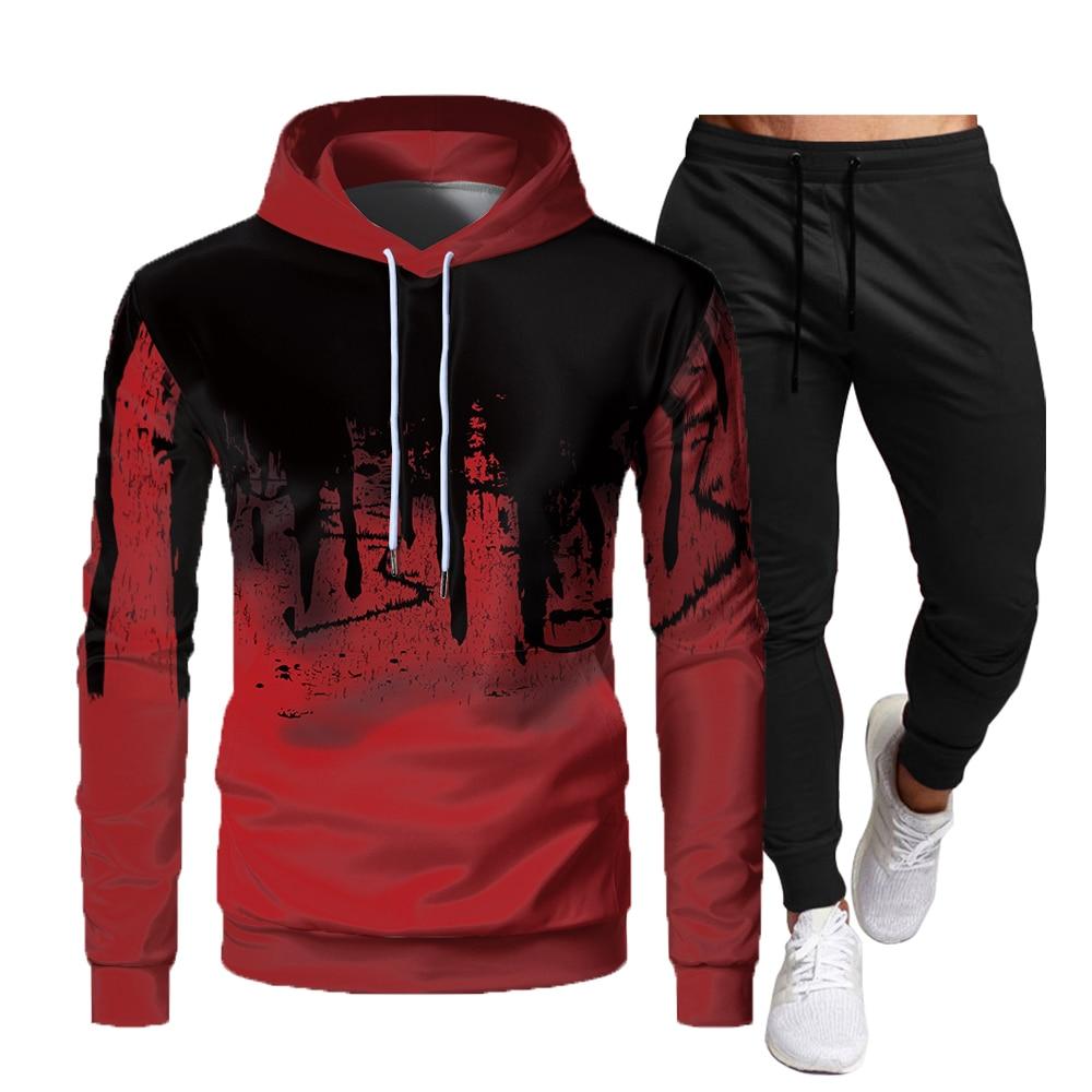 Новая комбинированная толстовка + повседневные брюки, спортивная мужская одежда, Теплая мужская одежда, спортивная хлопковая толстовка + бр...
