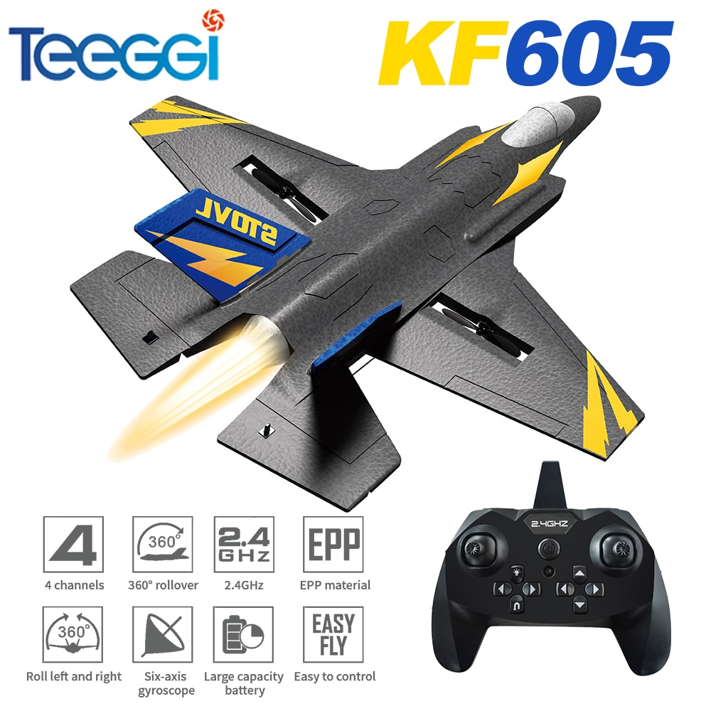 KF605 RC Airplane Fixed Wing with Motor Aircraft  2.4GHz 4CH 6-Axis Gyro Backflip Stunt Roll Fighter