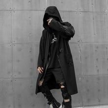 Men Long Hooded Trench Coat  Hollow Out Sleeve LooseCardigan Male Punk Gothic Streetwear Hip Hop Black Outerwear Windbreaker
