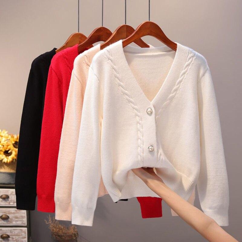 Zoki Soft Women Cardigans Sweater Autumn Sexy V Neck Autumn Loose Long Sleeve Knitted White Black Korean Sweater Coat New 2021