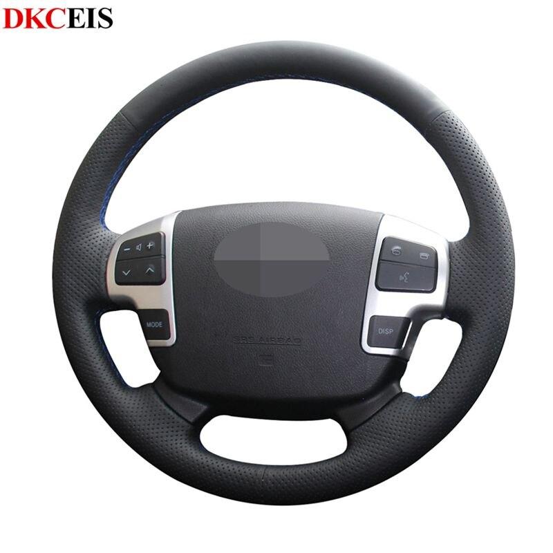 DIY cosido a mano negro suave PU cuero volante de coche cubierta para Tundra 2007-2013 Sequoia Toyota Land Cruiser 2008-2015