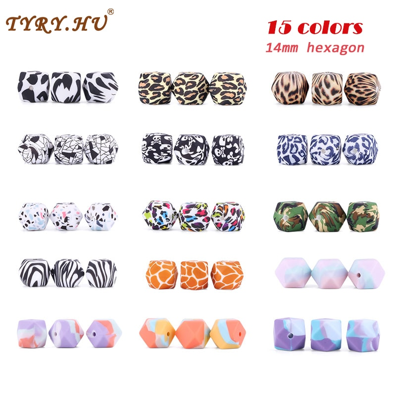 50pcs 14mm Hexagon Silicone Beads Water Printing Sensory Teething DIY Accessories Pacifier Chain PVC Free Baby Gift