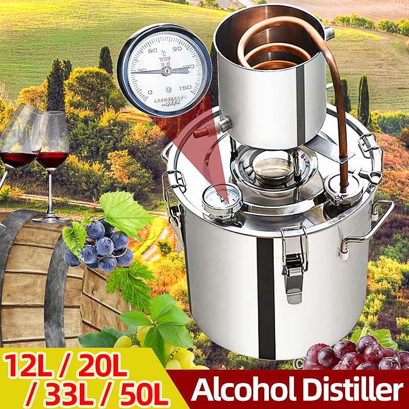12L/20L/33L/50L Distiller Moonshine Alcohol Machine Stainless Copper DIY Home Brewery vodka Wine Essential Distiller Brewing Kit