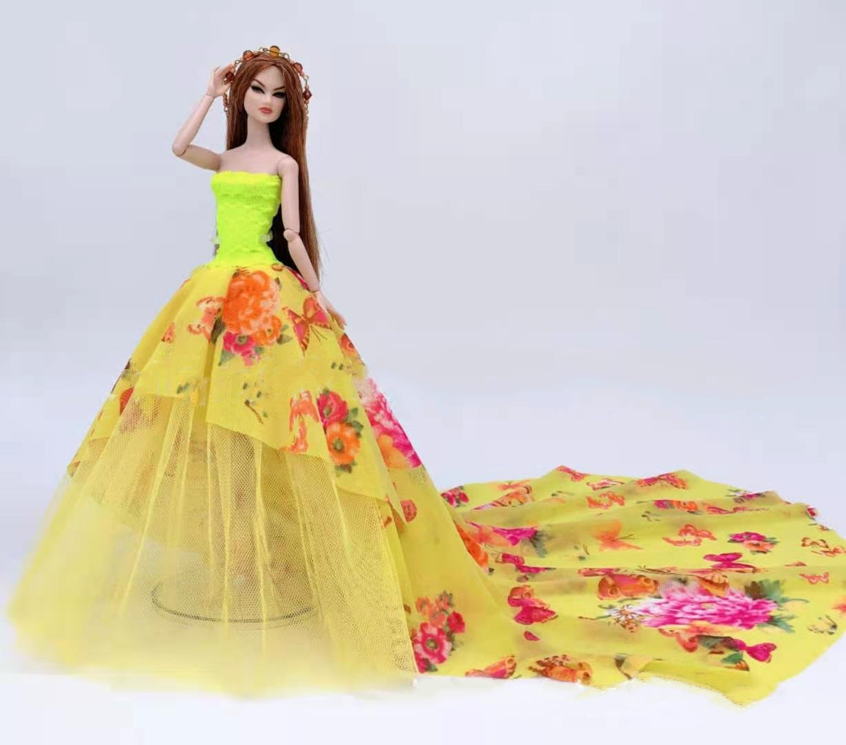 AliExpress - 1:6 Off Shoulder Butterfly Floral Dress for Barbie Doll Clothes Yellow Princess Party Gown 30cm BJD Dolls Accessories Kids Toys