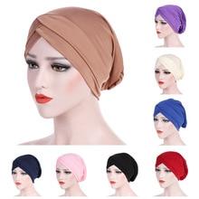 JTVOVO RUNMEIFA 2021 New Spring Fashion Muslim Women Headwear Stretch Cloth Forehead Cross Indian Ha