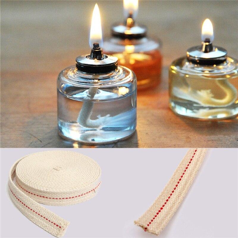 4.5Meters Width 2cm Premium Oil Lamp Mate Flat Cotton Oil Lantern Kerosene Lamp Wick Red Stitch Roll Candle Making Supplies
