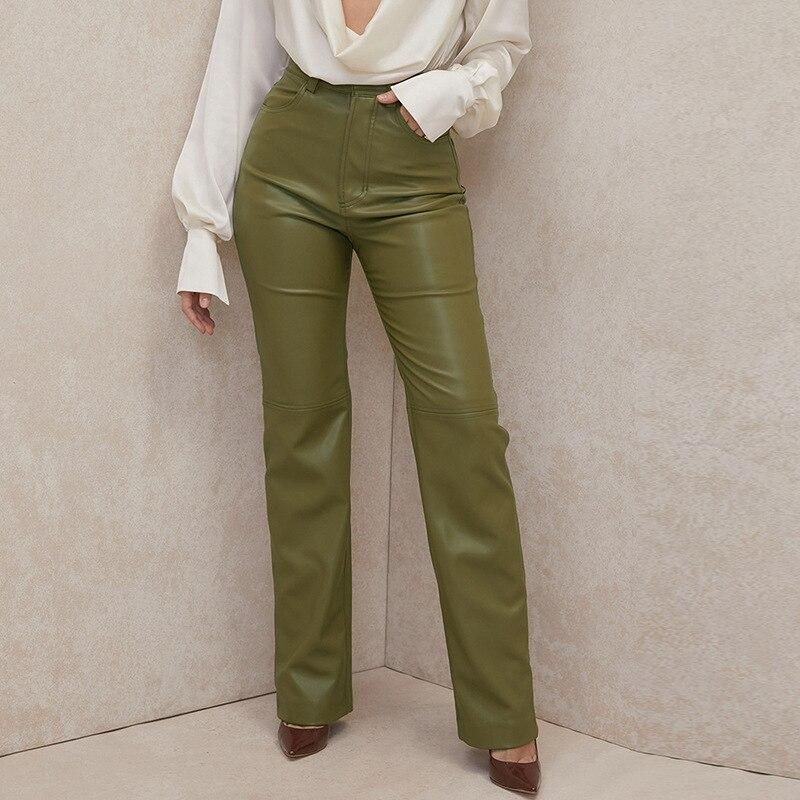 Осенние уличные брюки с высокой талией Primadonna, модные кожаные брюки с карманами из искусственной кожи, прямые кожаные брюки на бедрах с флисо... диваны кожаные прямые трехместные раскладные