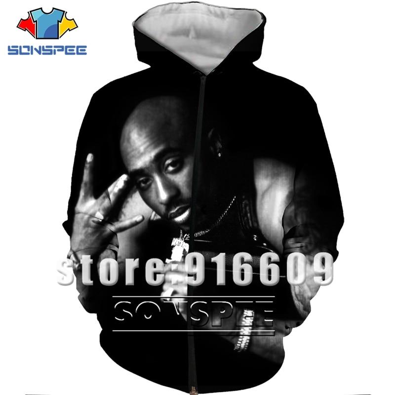 Tupac 2Pac 90s Rapper Harajuku chándal impresión 3D sudadera Rock chaqueta para Dj/hombres mujeres Pullovers cremallera Hip Hop de talla grande