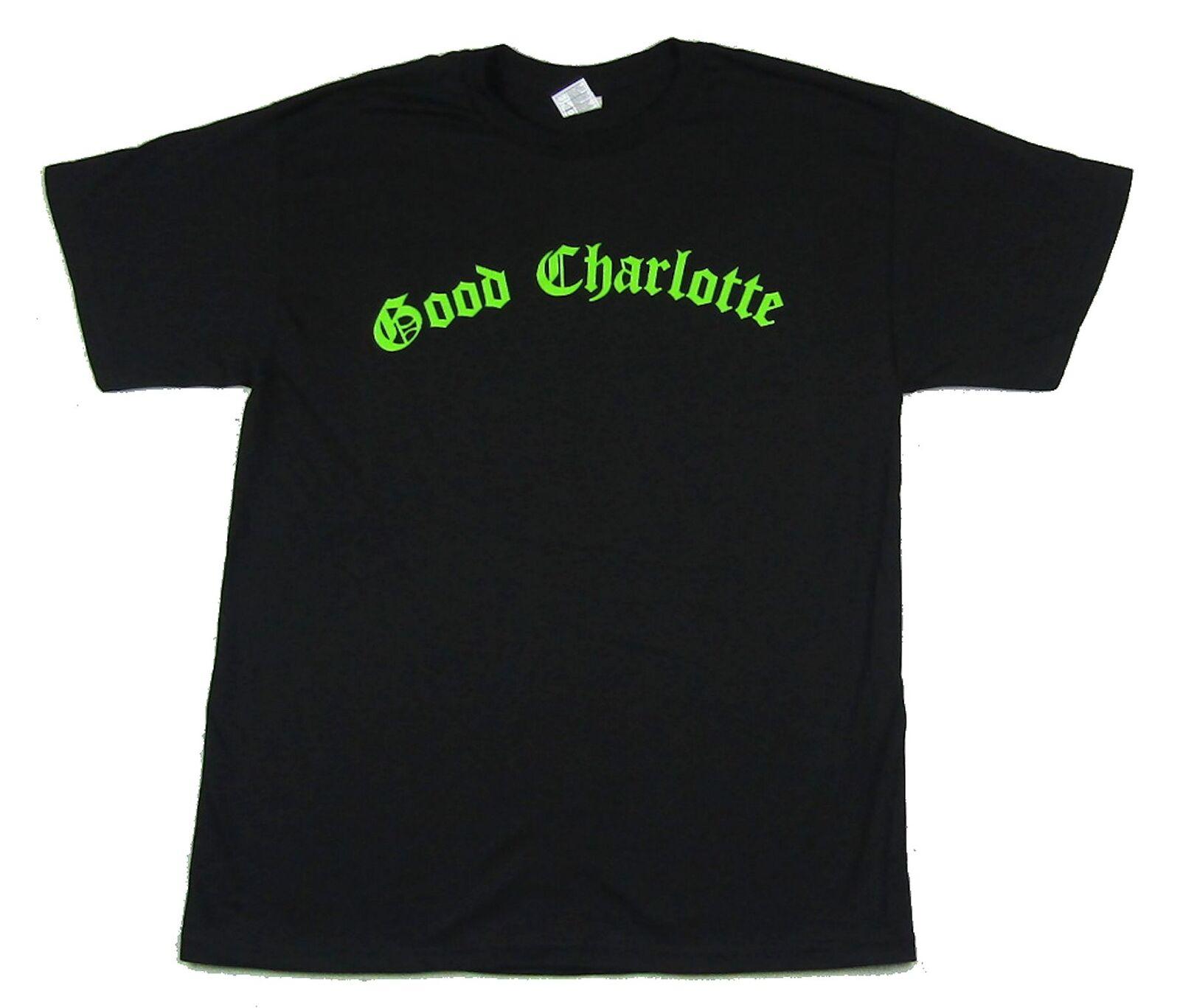 Good Charlotte Green Name Logo Black T Shirt New Official Band Merch