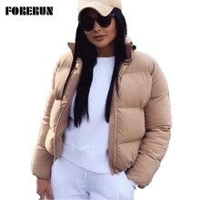 Куртка-пуховик FORERUN, однотонная, с воротником оверсайз, для осени и зимы, 2020