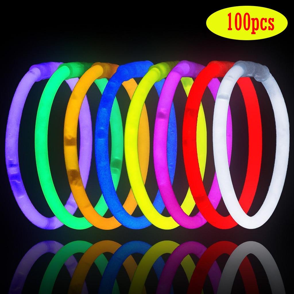 100PCS Party Fluorescence Light Glow Sticks Necklaces Neon Bright Colorful Bracelets for Wedding Party Concert Festival Supplies