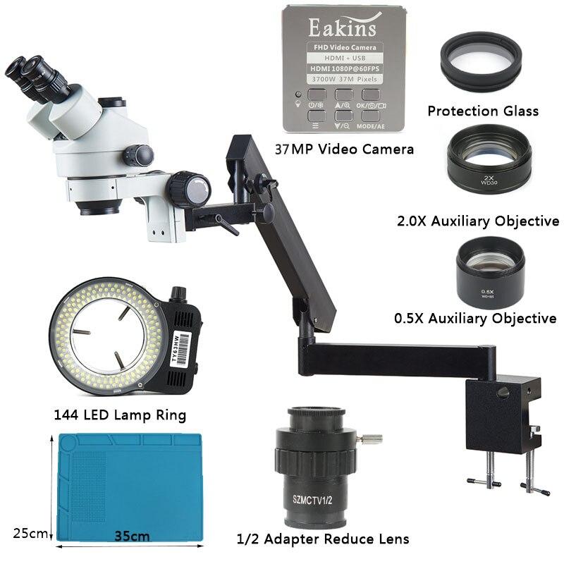 Simul التكبير البؤري 3.5X - 90X توضيح الذراع المشبك مجهر ستيريو ثلاثي العينيات + 37MP HDMI USB كاميرا فيديو لإصلاح PCB