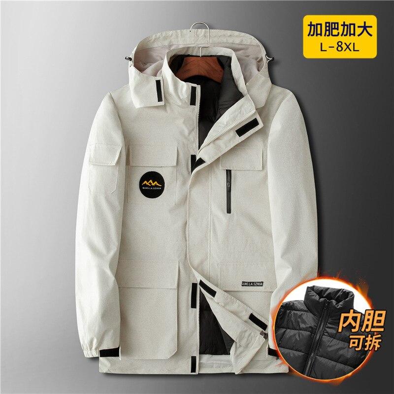 Новое поступление, модная супер большая зимняя мужская куртка с подкладкой, комплект из двух предметов, молодежная рабочая одежда с несколь...