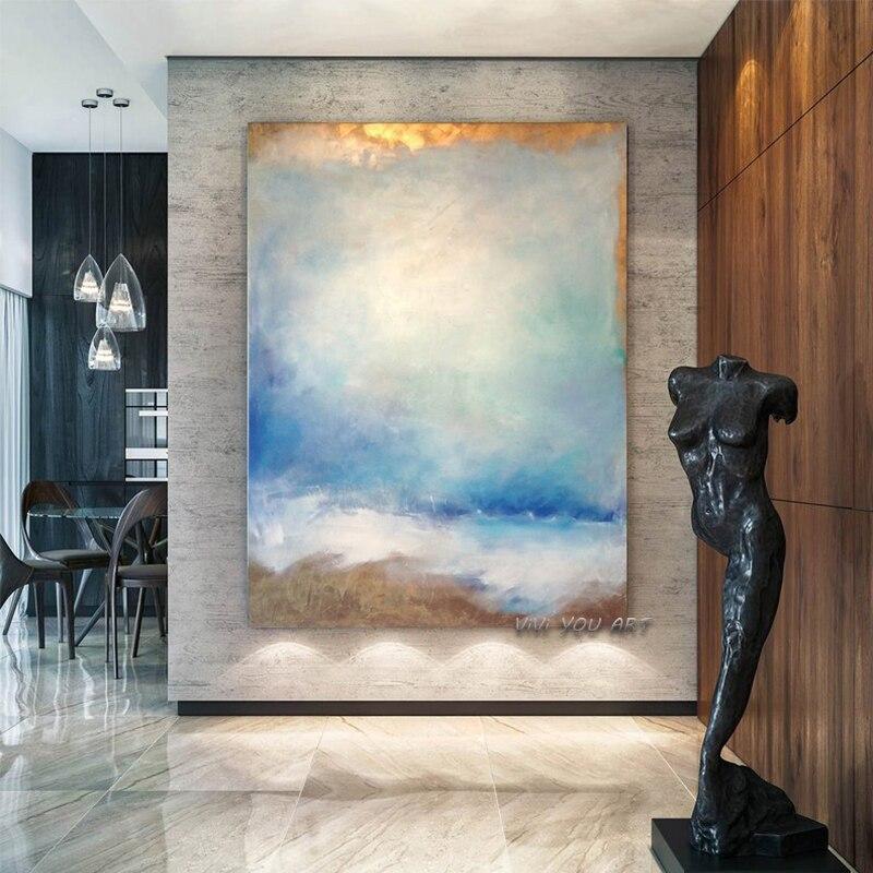 100% ручная работа, абстрактная синяя небесная Роскошная золотая модная картина маслом для гостиной, современная живопись, Настенный декор, к...