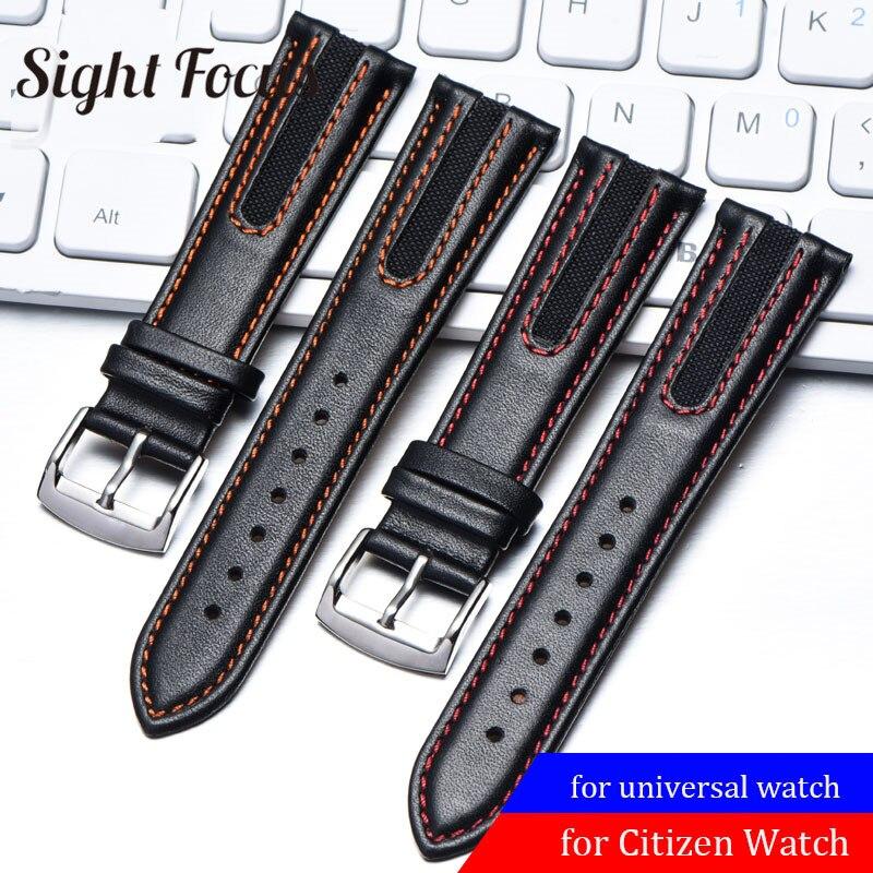Pulseiras de Relógio para Cidadão Pulseira de Relógio de Couro Ponto Vermelho Mido Victorinox Bezerro Pulseiras Relógio Masculino Orologio Reloj 21mm