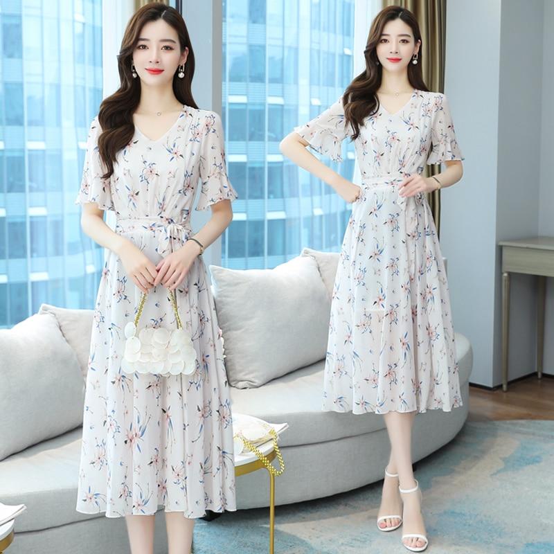 White Dress Vetement Femme 2021Summer Clothes Vestido Midi Chiffon Floral Evening Dresses Kleider Damen Ropa Verano Vestidos