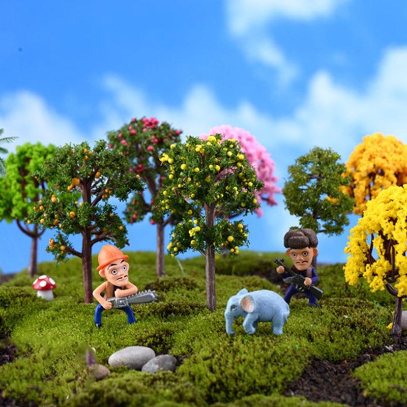 Miniaturas 1pc estatuetas jardim microlandscape venda quente simulação árvores de plástico sakura mini alta qualidade decoração para casa