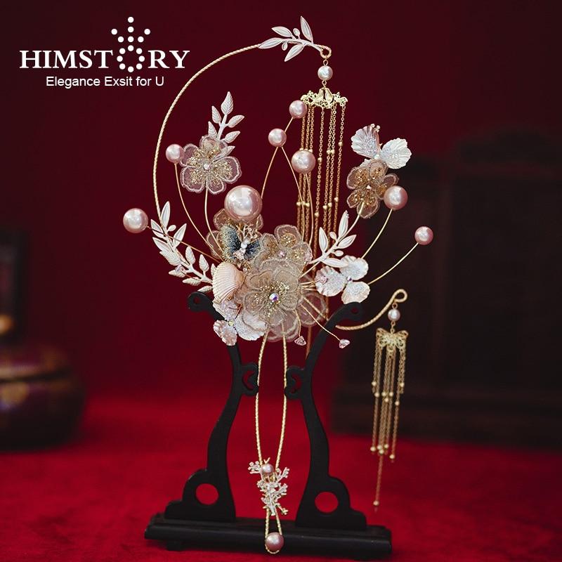 HIMSTORY Newest Designer Chinese Bridal Fan Bouquet Gold Tassels Handmade Metal Round Artificial Flowers Wedding Accessories