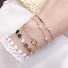 Korean Simple Personalized Chain Bracelet Student Fresh Female Friends Sisters Hipster Pearl Bracele