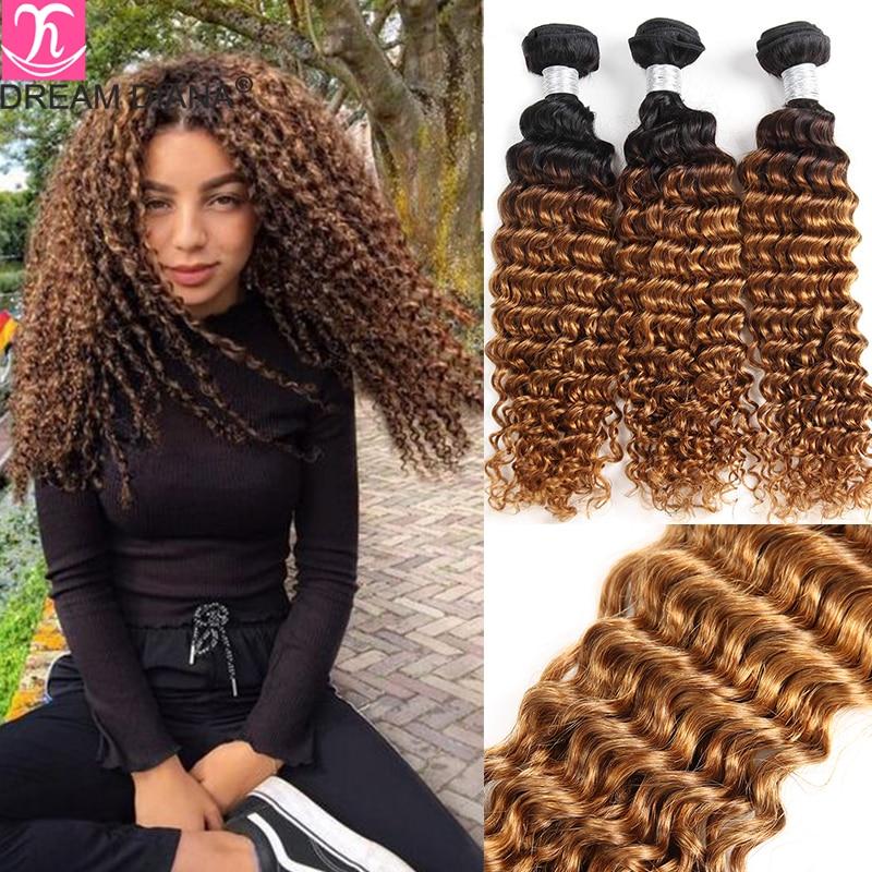 Fasci di capelli Remy indiani DreamDiana fasci di ricci profondi Ombre 1B/4/30 1B/4/27 3 toni Ombre Deep Wave Hair 100% Ombre capelli umani