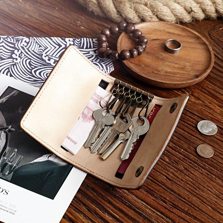 Vintage مفتاح منظم الجلود مفتاح سلسلة محفظة بحامل بطاقات حقيبة أموال صغيرة