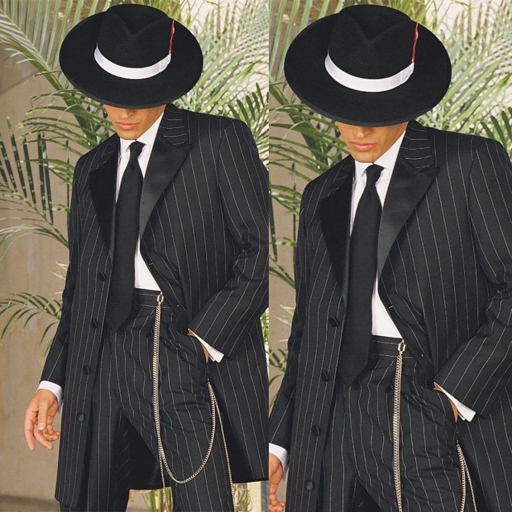 Vintage Long Style Men's Stripe Peaked Lapel Groom Wear Tuxedos 2 Pcs Peaky Blinder (Jacket+Pants) Wedding Suits 2021 Customized