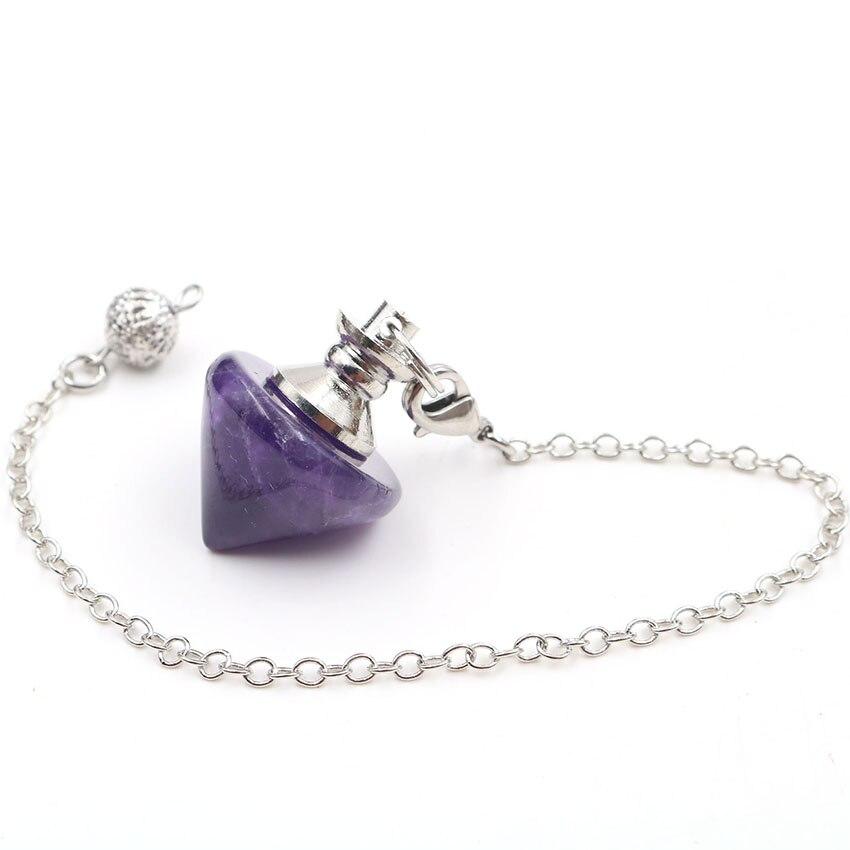 YJXP forme conique pendules pour radiesthésie Divination naturel Quartzs pierre lien chaîne pendentif Reiki guérison équilibrage bijoux 1 pièces