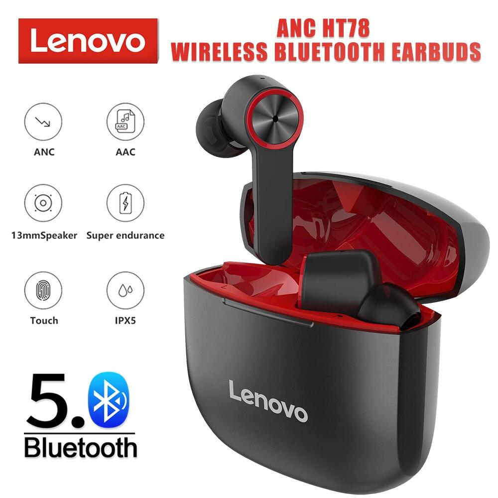 لينوفو HT78 ANC نشط الحد من الضوضاء 20-23dB TWS اللاسلكية بلوتوث الألعاب سماعة التحكم باللمس مقاوم للماء HD دعوة