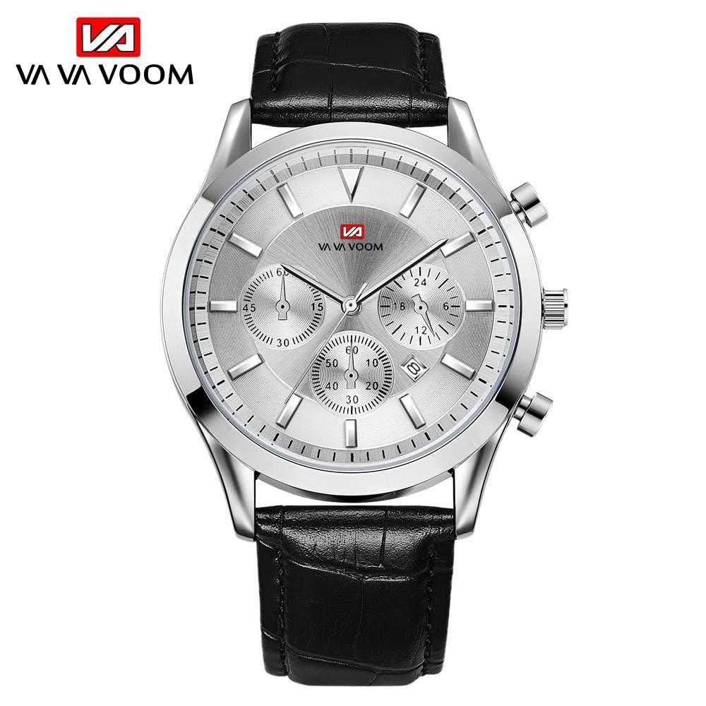 VA Brand Casual Simple Men Watch Fashion Quartz Movement Bamboo Knot Leather Strap Waterproof Calendar Business Men Wristwatch