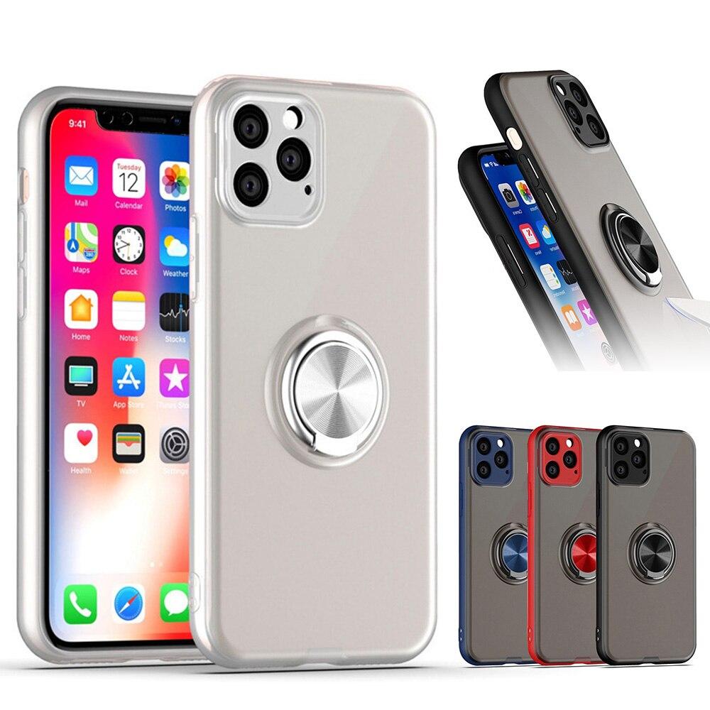 Color caramelo soporte a prueba de golpes funda para IPhone 11 Pro Max funda de silicona con anillo soporte funda protectora