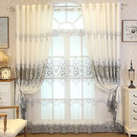 Cortinas bordadas solubles en agua huecas para sala de estar, comedor, dormitorio,...
