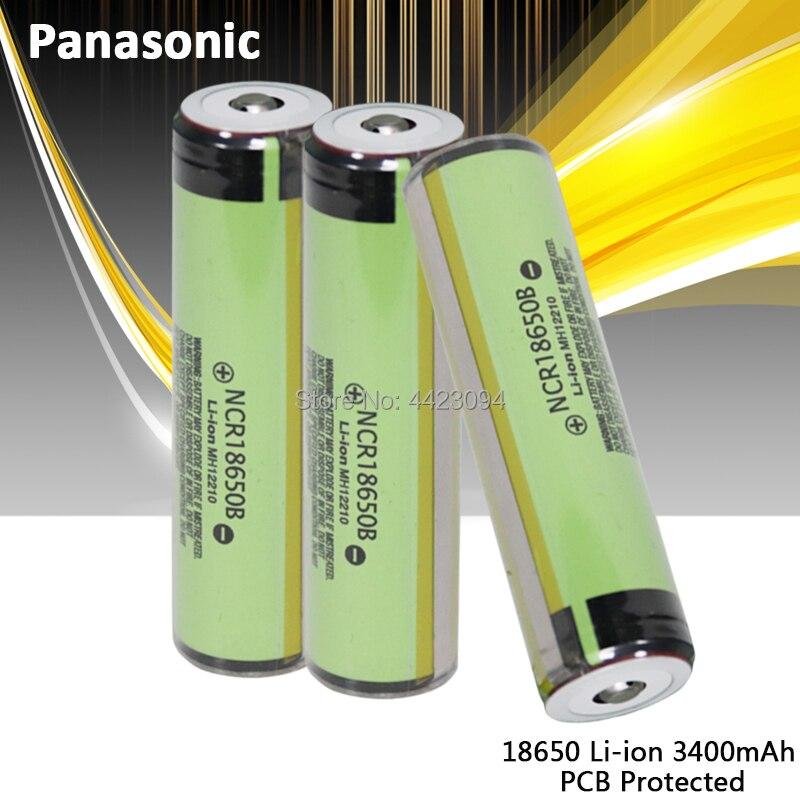 100% Новый оригинальный Panasonic NCR18650B 3,7 v 3400mah 18650 литиевая аккумуляторная батарея фонарик батареи PCB защищены