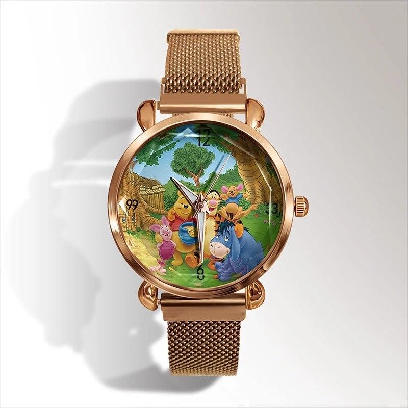 3D Anime Cartoon Women Watch Fashion Rose Gold Case Luxury women's bracelet Quartz Wrist watch Magnetic Metal Strap Reloj Mujer