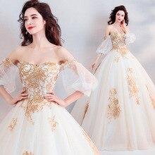 Vestido de princesa de estilo princesa personalizado estilo corte dorado tres bordado dimensional Perspectiva de novia vestido de princesa de boda